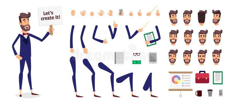 Κατασκευαστής επιχειρηματιών ή αρσενικό σύνολο δημιουργιών χαρακτήρα προσώπων κινούμενων σχεδίων διανυσματικό Πρότυπο σωμάτων μερ διανυσματική απεικόνιση