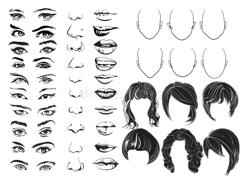 Κατασκευαστής προσώπου, μάτια, χείλια, μύτες και τρίχα, διανυσματικά μέρη προσώπου γυναικών, επικεφαλής χαρακτήρας επίσης corel σ διανυσματική απεικόνιση