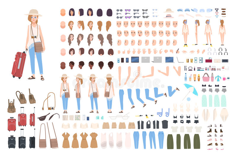 Κατασκευαστής ταξιδιωτικού χαρακτήρα νέων κοριτσιών Διαφορετική γυναίκα στο σύνολο δημιουργιών διακοπών Στάσεις, hairstyle, πρόσω ελεύθερη απεικόνιση δικαιώματος
