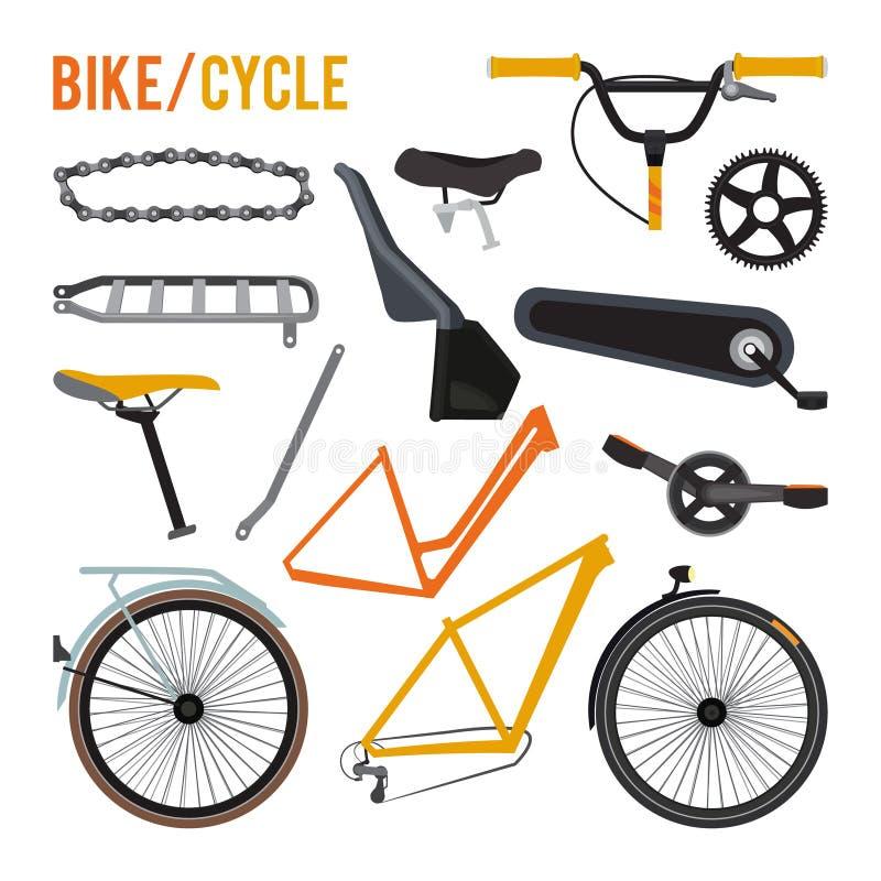 Κατασκευαστής των διαφορετικών μερών και του εξοπλισμού ποδηλάτων διανυσματική απεικόνιση