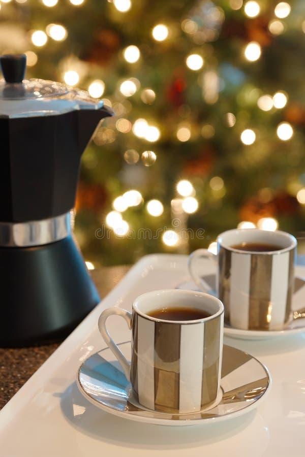 Κατασκευαστής Espresso καφέ Χριστουγέννων στοκ φωτογραφία με δικαίωμα ελεύθερης χρήσης
