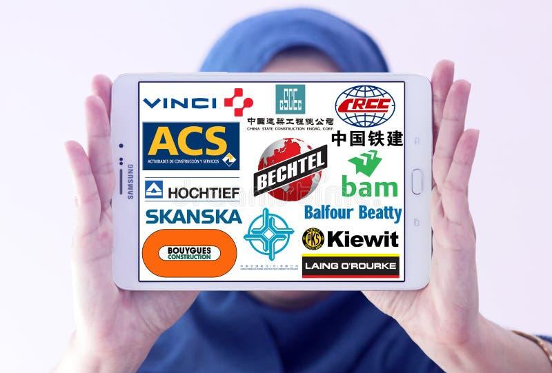 Κατασκευαστικά λογότυπα εικονιδίων στοκ εικόνες