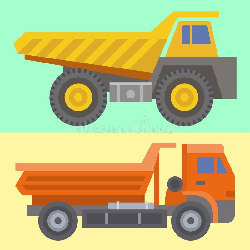 Κατασκεύασμα οχημάτων μεταφορών φορτηγών παράδοσης κατασκευής και μεγάλη πλατφόρμα εξοπλισμού μηχανών οδικής μεταφοράς με φορτηγό διανυσματική απεικόνιση