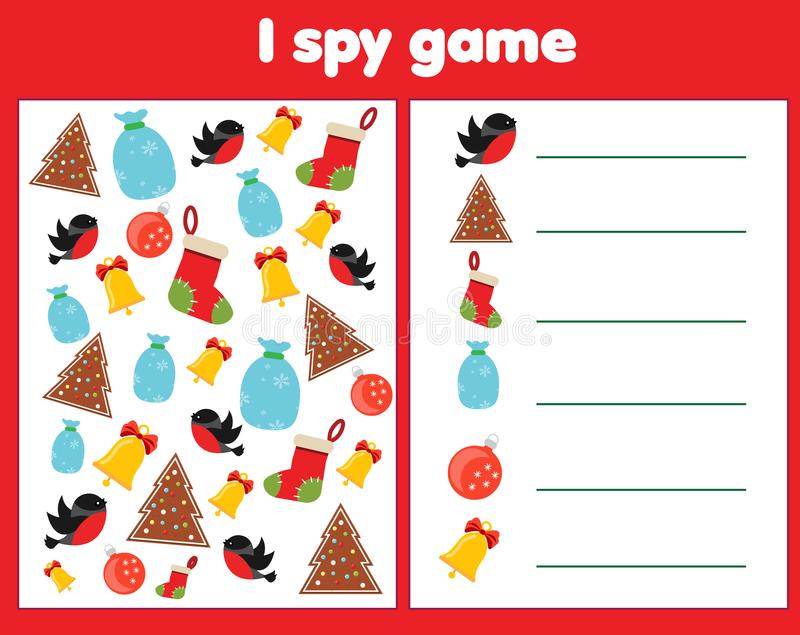 Κατασκοπεύω το παιχνίδι για τα μικρά παιδιά Βρείτε και μετρήστε τα αντικείμενα Μετρώντας εκπαιδευτική δραστηριότητα παιδιών Χριστ ελεύθερη απεικόνιση δικαιώματος