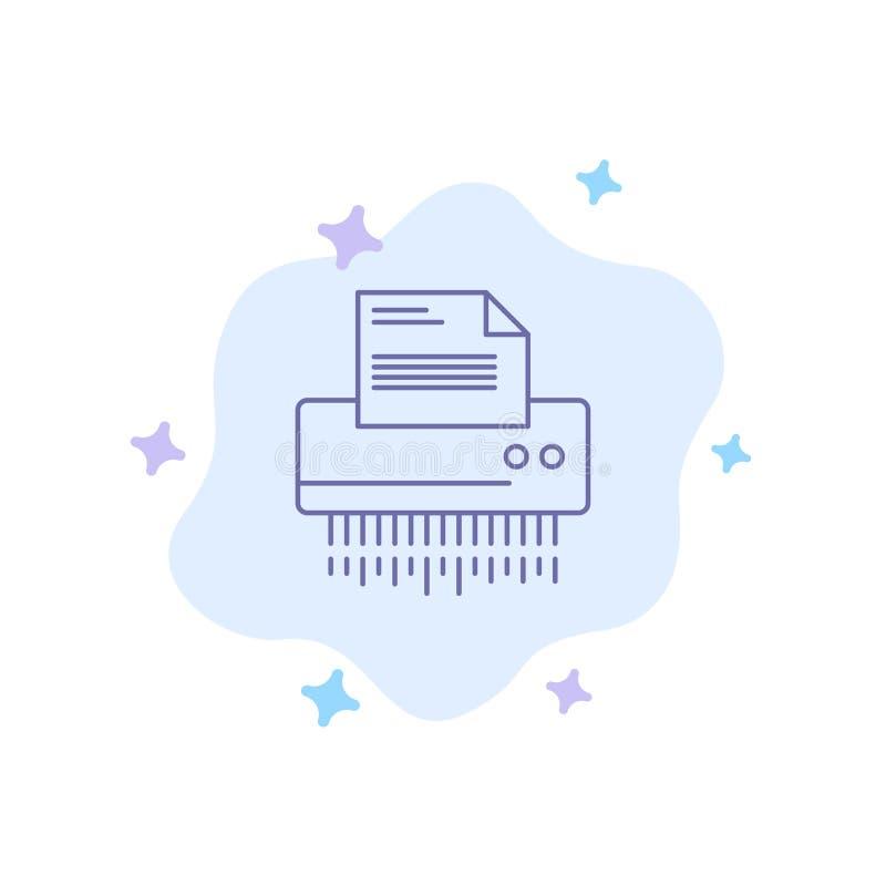 Καταστροφέας εγγράφων, εμπιστευτικός, στοιχεία, αρχείο, πληροφορίες, γραφείο, μπλε εικονίδιο εγγράφου στο αφηρημένο υπόβαθρο σύνν απεικόνιση αποθεμάτων