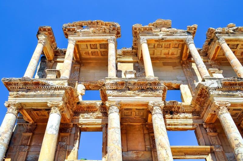 Καταστροφές βιβλιοθήκης του Κέλσου σε Ephesus, Τουρκία στοκ εικόνες με δικαίωμα ελεύθερης χρήσης