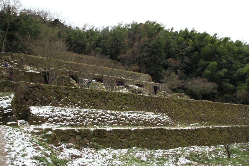 Καταστροφές εγκαταστάσεων καθαρισμού Shimizudani στο ginzan ασημένιο ορυχείο Iwami (παγκόσμια κληρονομιά) στοκ φωτογραφία