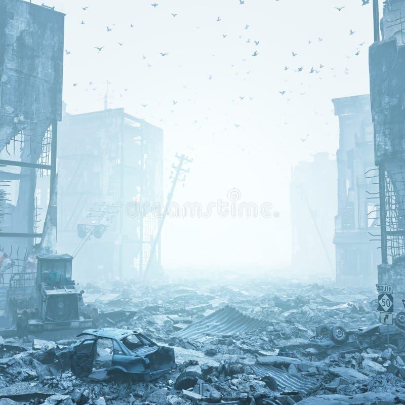 Καταστροφές μιας πόλης σε μια ομίχλη διανυσματική απεικόνιση