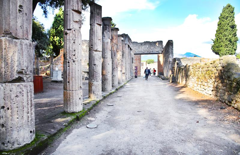 Καταστροφές της αρχαίας πόλης Πομπηία στοκ εικόνες