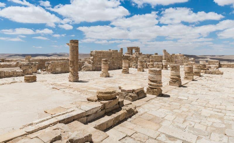 Καταστροφές της βόρειας εκκλησίας στην πόλη Nabataean Avdat, που βρίσκεται στο δρόμο θυμιάματος στην έρημο Judean στο Ισραήλ Είνα στοκ φωτογραφία