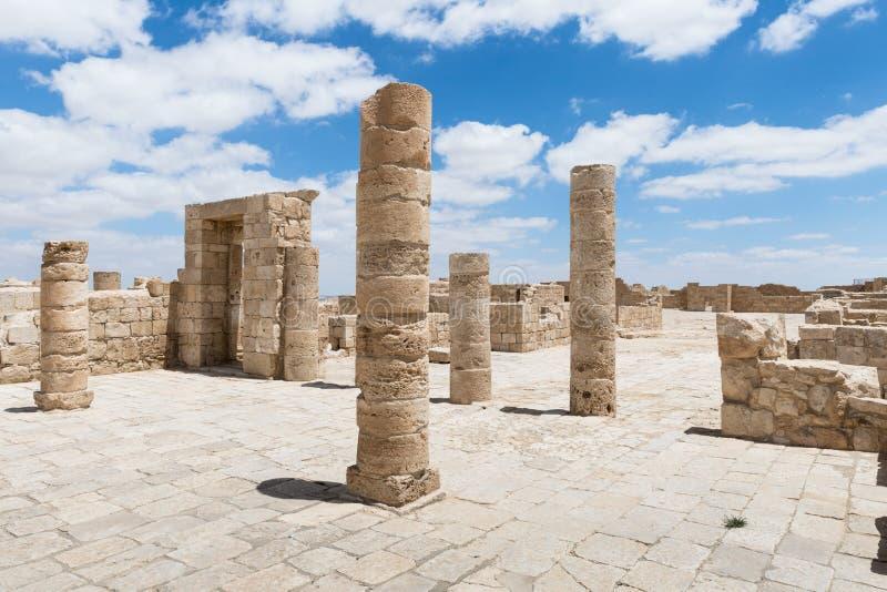 Καταστροφές της βόρειας εκκλησίας στην πόλη Nabataean Avdat, που βρίσκεται στο δρόμο θυμιάματος στην έρημο Judean στο Ισραήλ Είνα στοκ φωτογραφία με δικαίωμα ελεύθερης χρήσης