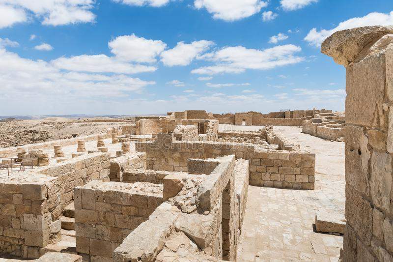 Καταστροφές της βόρειας εκκλησίας στην πόλη Nabataean Avdat, που βρίσκεται στο δρόμο θυμιάματος στην έρημο Judean στο Ισραήλ Είνα στοκ φωτογραφίες με δικαίωμα ελεύθερης χρήσης