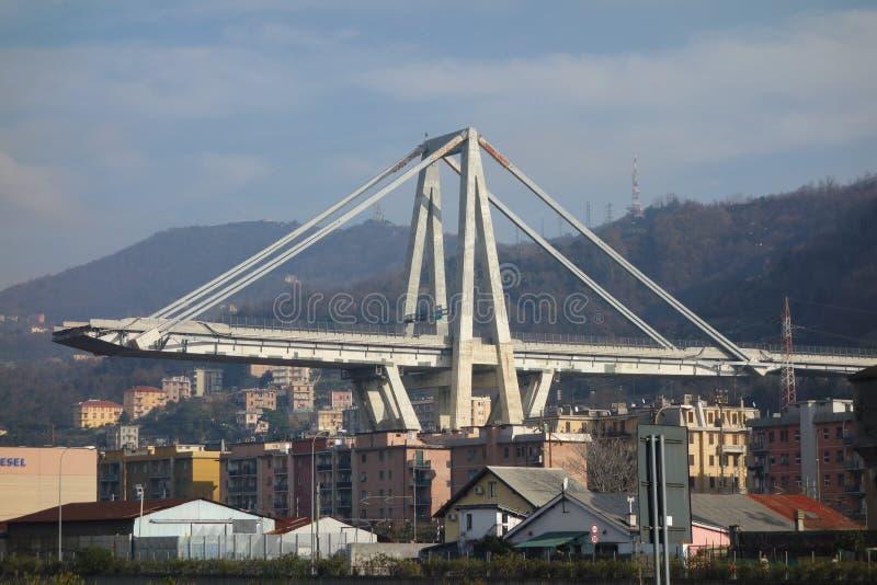 Καταστροφές της γέφυρας Ponte Morandi στη Γένοβα στοκ φωτογραφίες