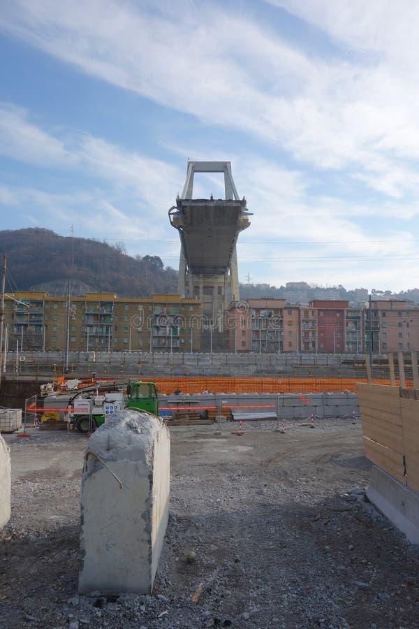 Καταστροφές της γέφυρας Ponte Morandi στη Γένοβα στοκ εικόνα με δικαίωμα ελεύθερης χρήσης