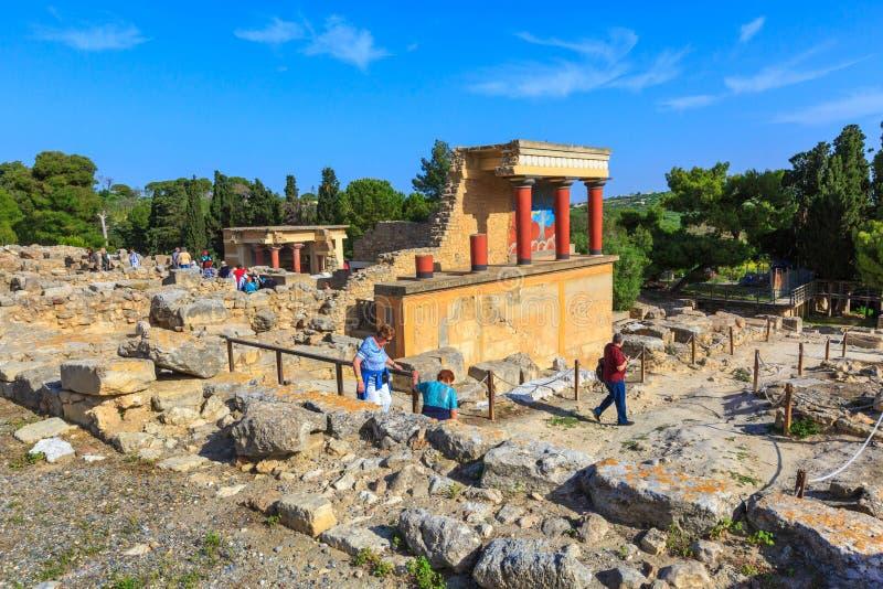 Καταστροφές της Κνωσού, Κρήτη του παλατιού Minoan, Ελλάδα στοκ εικόνες