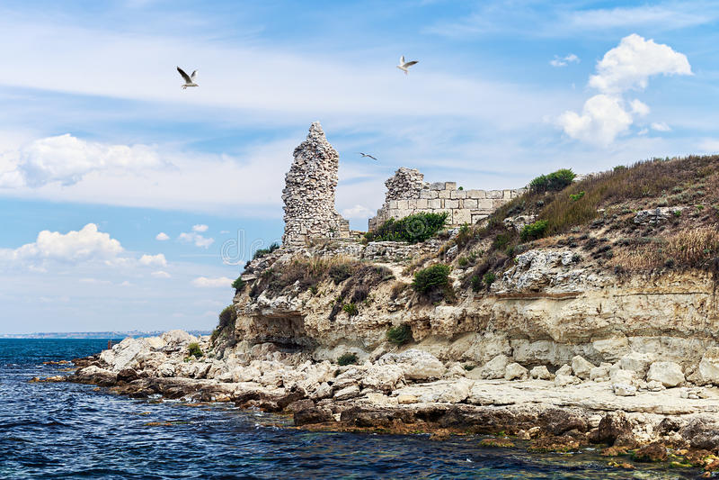 Καταστροφές της πόλης αρχαίου Έλληνα Chersonesos στη Σεβαστούπολη στοκ εικόνα με δικαίωμα ελεύθερης χρήσης