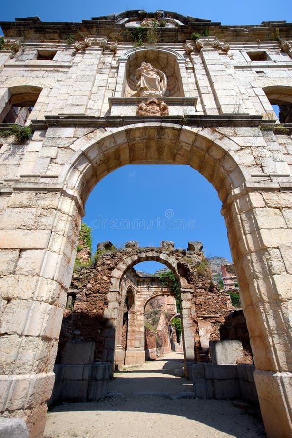 Καταστροφές του μοναστηριού Scala Dei σε Priorat (aka Priorato), Καταλωνία, Ισπανία στοκ φωτογραφία με δικαίωμα ελεύθερης χρήσης