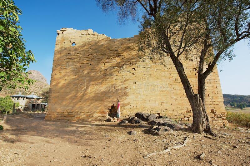 Καταστροφές του ναού ναών Yeha του φεγγαριού σε Yeha, Αιθιοπία Ο ναός Yeha είναι μια από την παλαιότερη στάση στην Αιθιοπία στοκ εικόνα