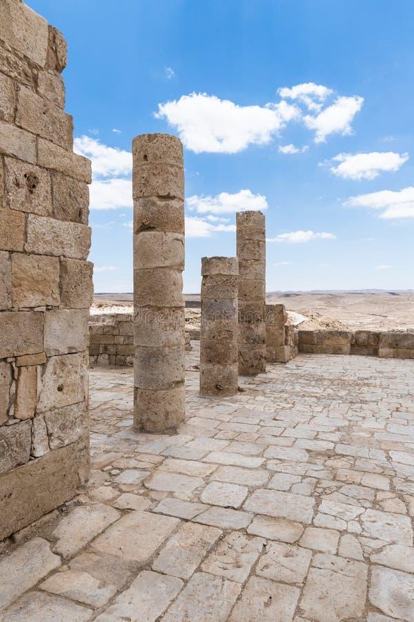 Καταστροφές του ναού Nabatean στην πόλη Nabataean Avdat, που βρίσκεται στο δρόμο θυμιάματος στην έρημο Judean στο Ισραήλ Είναι IN στοκ φωτογραφίες με δικαίωμα ελεύθερης χρήσης
