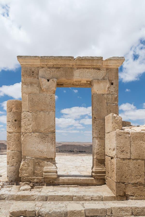 Καταστροφές του ναού Nabatean στην πόλη Nabataean Avdat, που βρίσκεται στο δρόμο θυμιάματος στην έρημο Judean στο Ισραήλ Είναι IN στοκ εικόνες