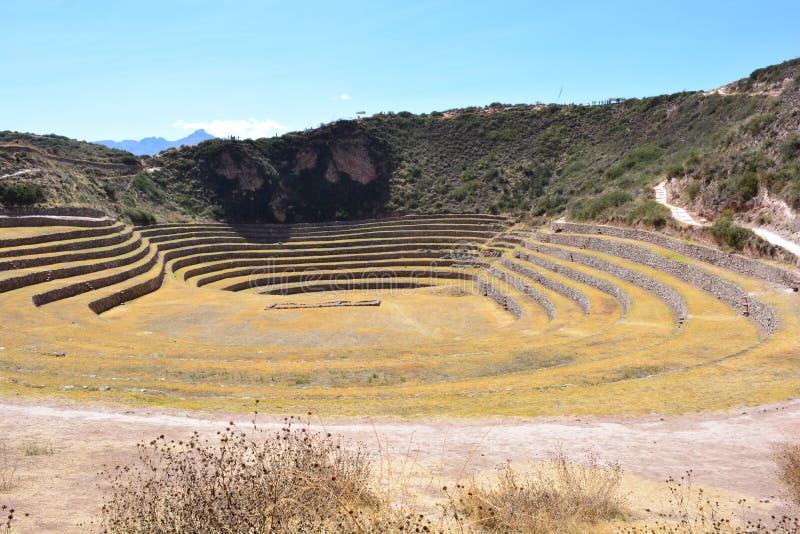 Καταστροφές του Morays, ένας τομέας φυτειών που χρησιμοποιείται από την αυτοκρατορία Inca στοκ φωτογραφίες