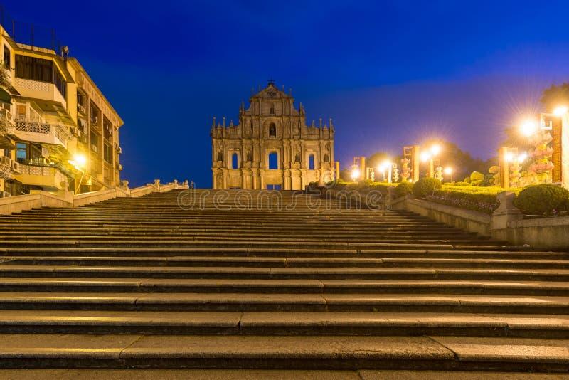 Καταστροφές του ST Paul ` s Χτισμένος από το 1602 ως το 1640, ένα από τα πιό γνωστά ορόσημα του Μακάο ` s  στοκ φωτογραφίες