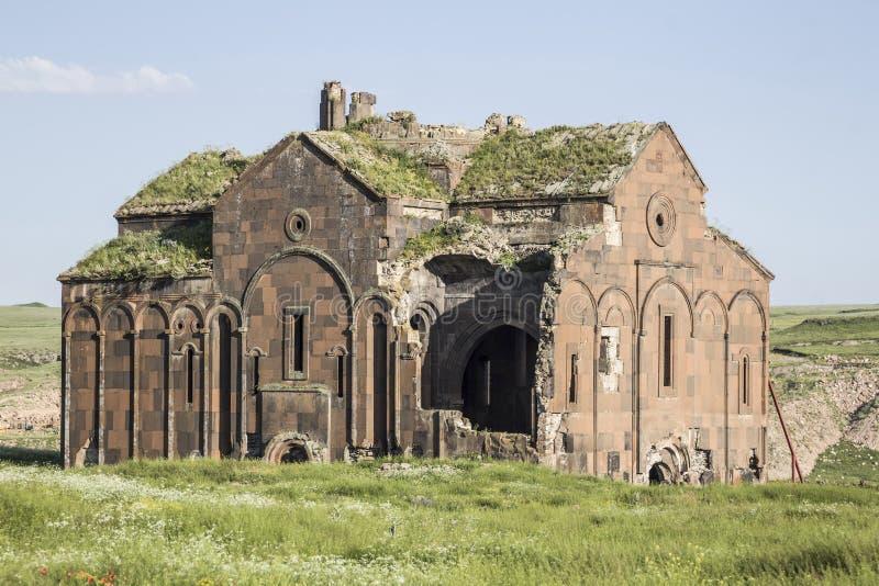 Καταστροφές Ani στην πόλη Kars της Τουρκίας κοντά στο τουρκικό αρμενικό borde στοκ φωτογραφίες