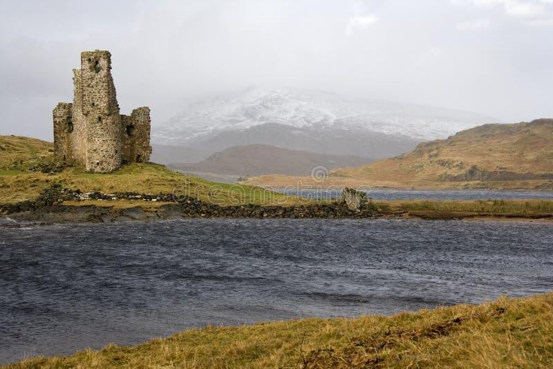 Καταστροφές Ardverk Castle - λίμνη Assynt - Σκωτία στοκ εικόνες με δικαίωμα ελεύθερης χρήσης