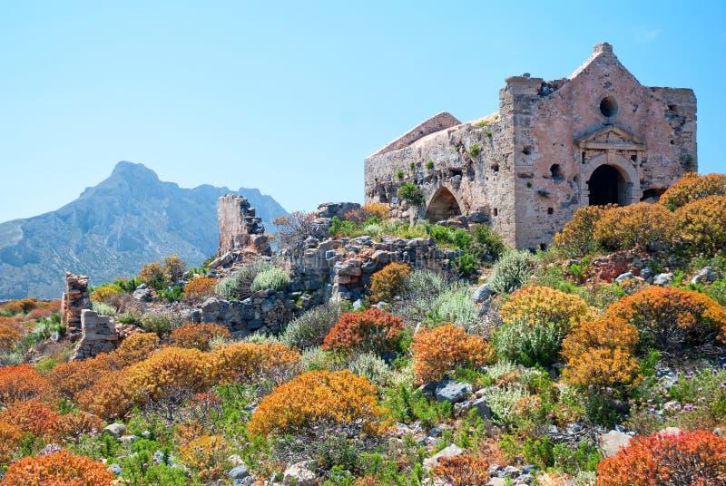 καταστροφές gramvousa φρουρίων εκκλησιών στοκ εικόνες