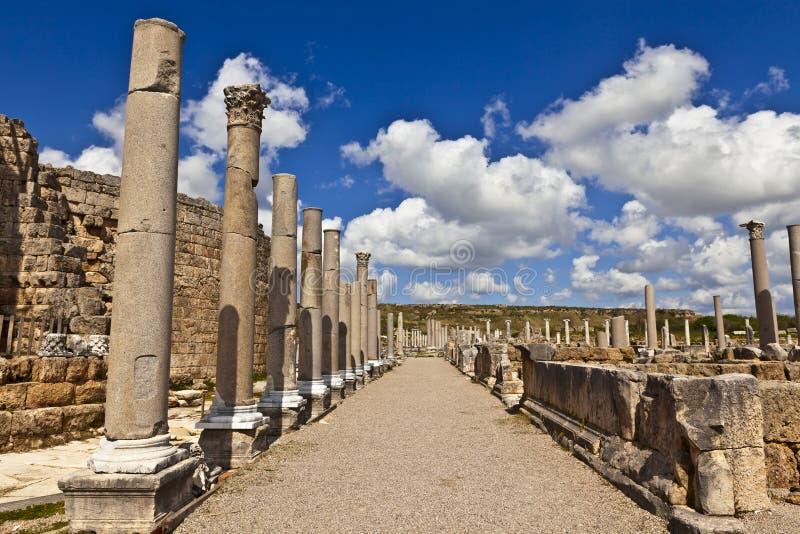 Καταστροφές Perge μια αρχαία από την Ανατολία πόλη στην Τουρκία στοκ φωτογραφίες