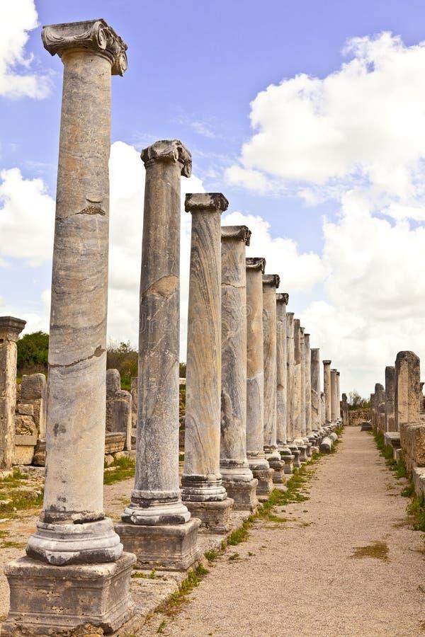 Καταστροφές Perge μια αρχαία από την Ανατολία πόλη στην Τουρκία στοκ εικόνες