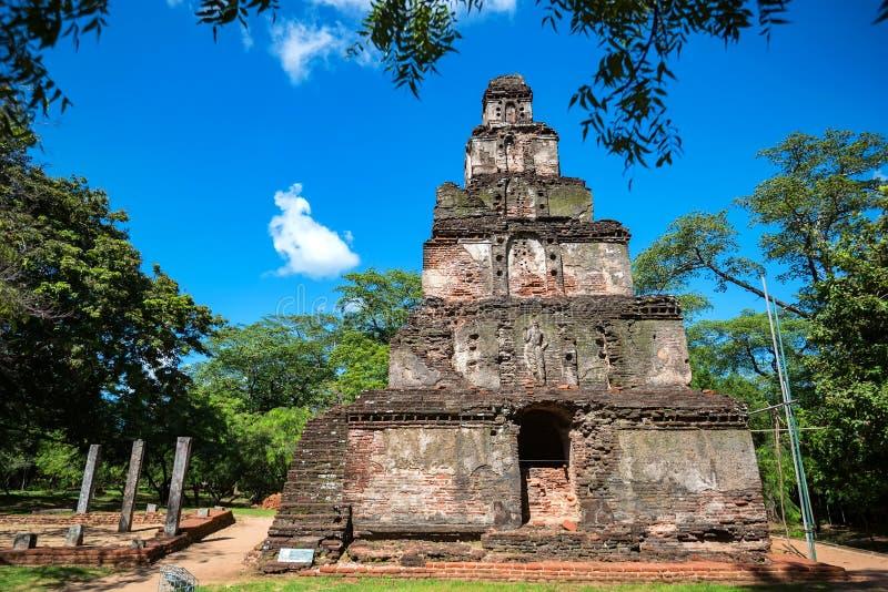 Καταστροφές Satmahal Prasada σε Polonnaruwa στοκ φωτογραφία