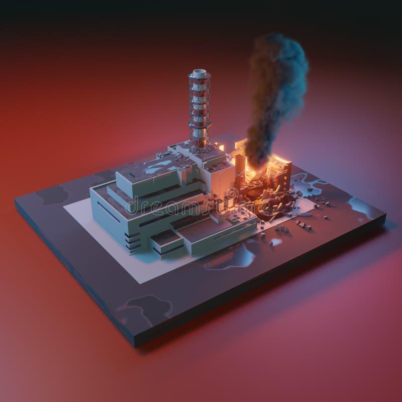 Καταστροφή καταστροφής του Τσέρνομπιλ, πυρηνικό ατύχημα Πυρηνικός σταθμός του Τσέρνομπιλ τρισδιάστατη isometric απεικόνιση ελεύθερη απεικόνιση δικαιώματος
