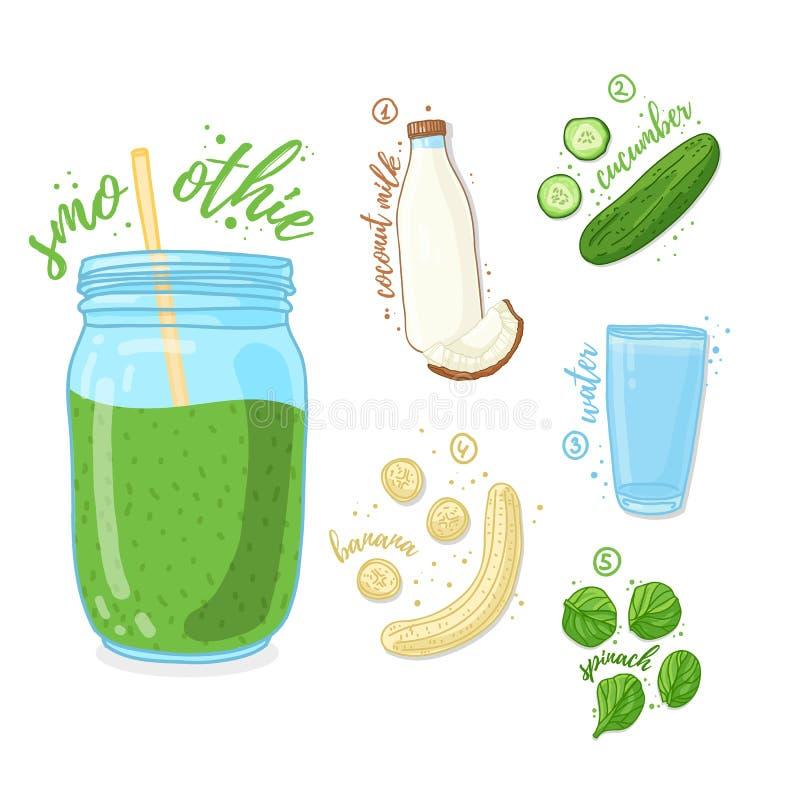 Πράσινο κοκτέιλ για την υγιή ζωή Καταφερτζήδες με το αγγούρι, το γάλα καρύδων, την μπανάνα και το σπανάκι Χορτοφάγος συνταγής οργ απεικόνιση αποθεμάτων