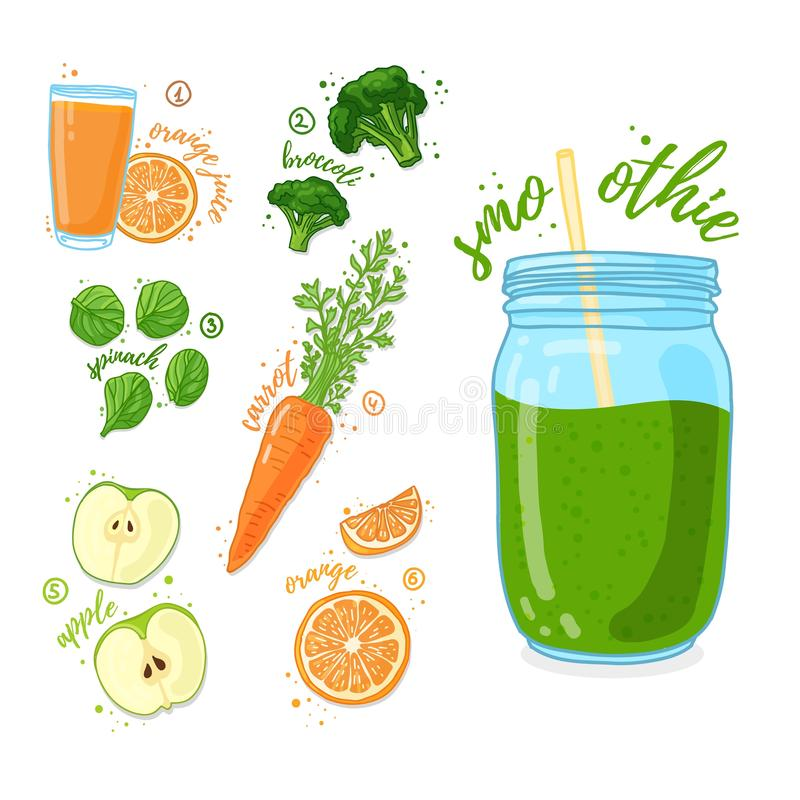 Πράσινο κοκτέιλ για την υγιή ζωή Καταφερτζήδες με το χυμό από πορτοκάλι, το μπρόκολο, το μήλο, το καρότο και το σπανάκι Χορτοφάγο απεικόνιση αποθεμάτων
