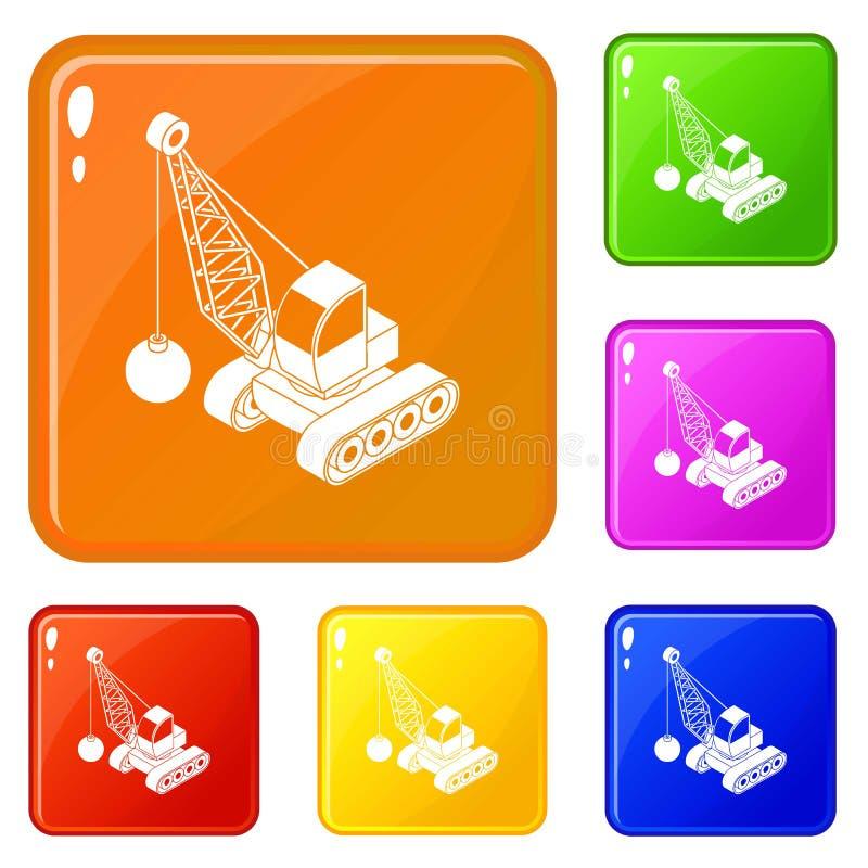 Κατεδαφίστε τα εικονίδια φορτηγών καθορισμένα το διανυσματικό χρώμα ελεύθερη απεικόνιση δικαιώματος