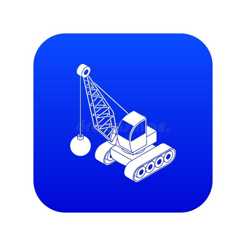 Κατεδαφίστε το μπλε διάνυσμα εικονιδίων φορτηγών απεικόνιση αποθεμάτων