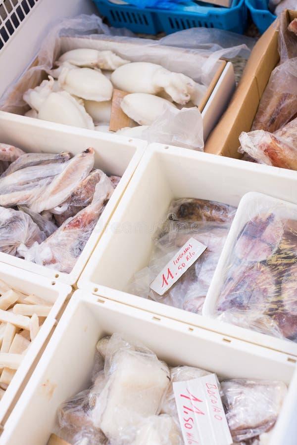 Κατεψυγμένα μεσογειακά θαλασσινά κοντά επάνω στο μετρητή στοκ φωτογραφία με δικαίωμα ελεύθερης χρήσης