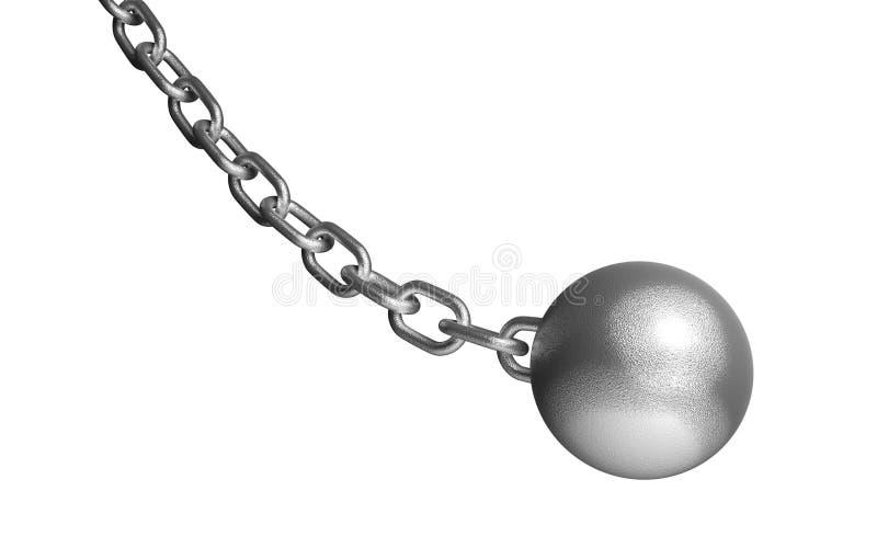 Κατεδαφίστε την ένωση σφαιρών στην αλυσίδα σιδήρου Στο λευκό ελεύθερη απεικόνιση δικαιώματος