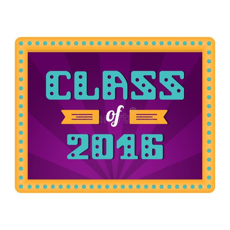 Κατηγορία 2016 Πτυχιούχος γυμνασίου, πτυχιούχος κολλεγίου Αναδρομικό πλαίσιο με τους λαμπτήρες Διανυσματική εγγραφή ελεύθερη απεικόνιση δικαιώματος
