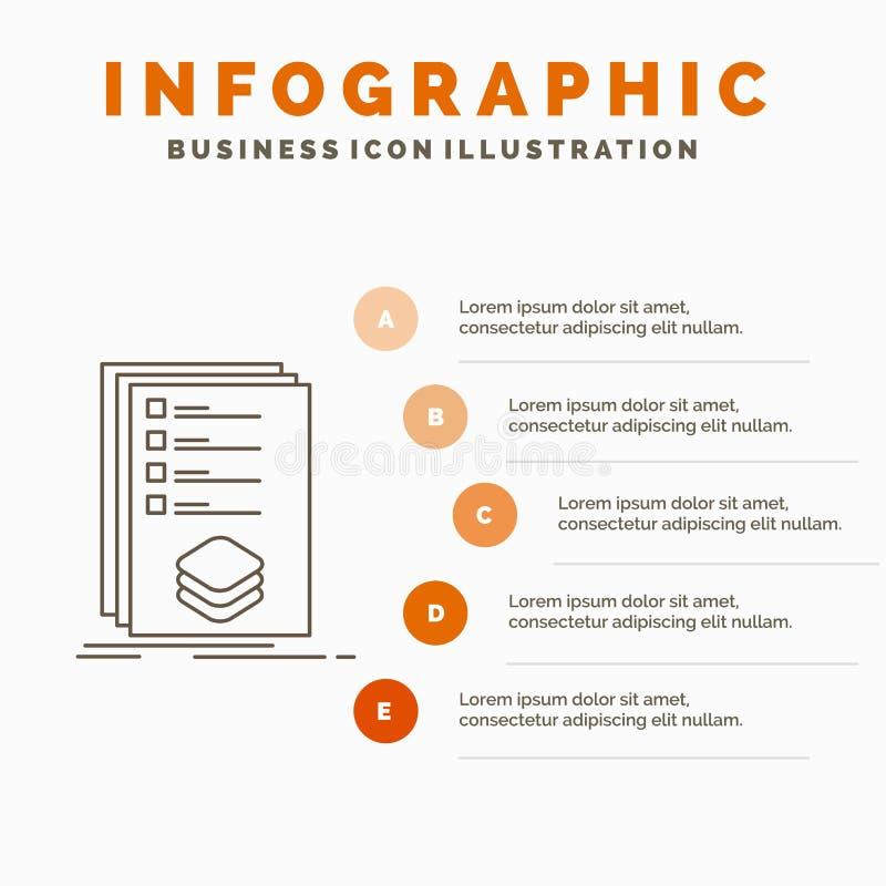 Κατηγορίες, έλεγχος, κατάλογος, λίστα, πρότυπο Infographics σημαδιών για τον ιστοχώρο και παρουσίαση r απεικόνιση αποθεμάτων