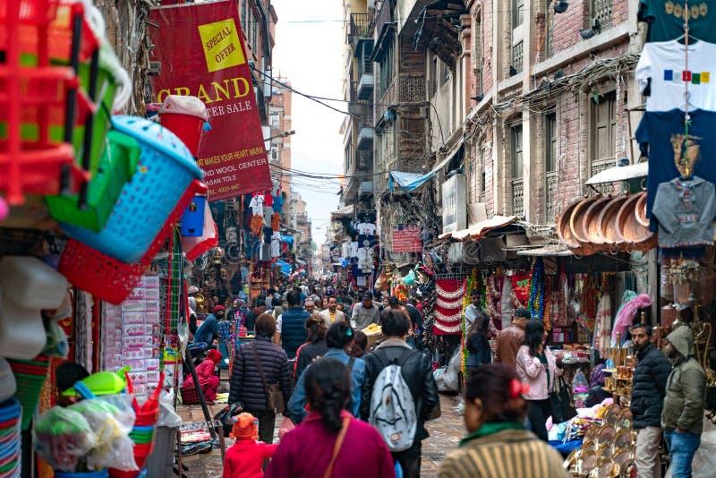 Κατμαντού-26 03 2019: Η αγορά αγαθών στο Νεπάλ στοκ εικόνες