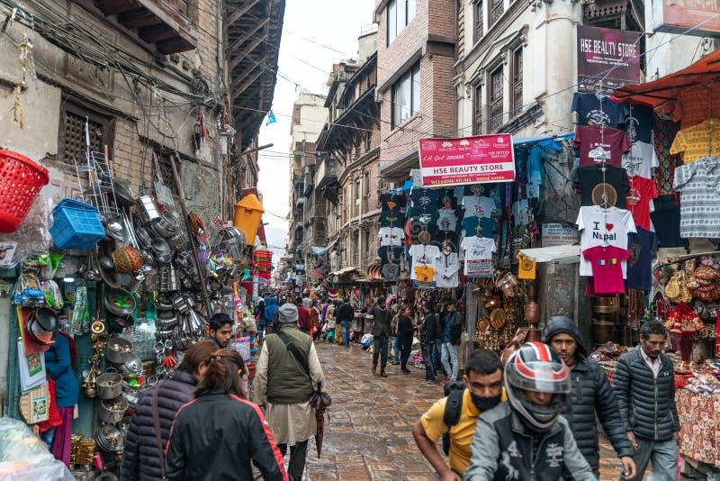 Κατμαντού-26 03 2019: Η αγορά αγαθών στο Νεπάλ στοκ εικόνες με δικαίωμα ελεύθερης χρήσης