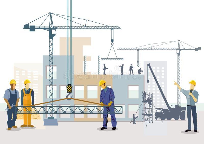 κατοικία περιοχών σπιτιών κατοικιών οικοδόμησης κτηρίου Διαδικασία εργασίας των κτηρίων ελεύθερη απεικόνιση δικαιώματος