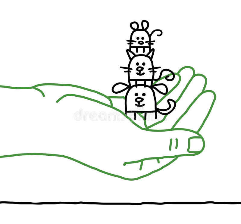 Κατοικίδια ζώα κινούμενων σχεδίων - προστασία διανυσματική απεικόνιση