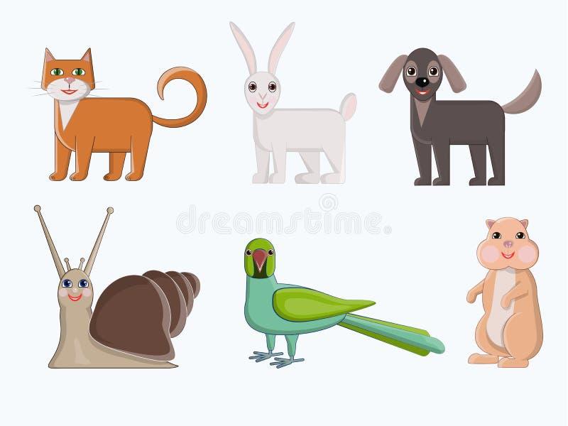 κατοικίδια ζώα που τίθεν&ta Χαριτωμένα εγχώρια ζώα στο ύφος κινούμενων σχεδίων Διανυσματικός παπαγάλος χάμστερ σαλιγκαριών απεικό διανυσματική απεικόνιση