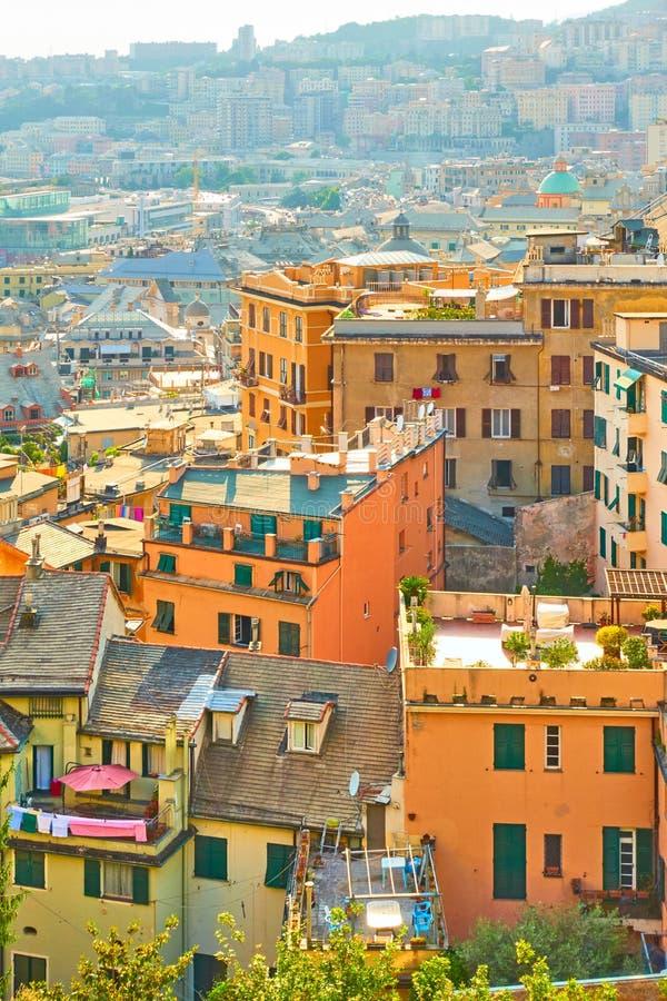 Κατοικημένα κτήρια στη Γένοβα στοκ φωτογραφίες