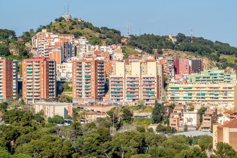 Κατοικημένη άποψη εικονικής παράστασης πόλης περιοχής της Βαρκελώνης στοκ φωτογραφία με δικαίωμα ελεύθερης χρήσης