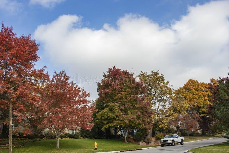 Κατοικημένη οδός γειτονιάς την όμορφη ημέρα φθινοπώρου τον μπλε νεφελώδη ουρανό και το άσπρο φορτηγό που σταθμεύουν με στοκ εικόνες