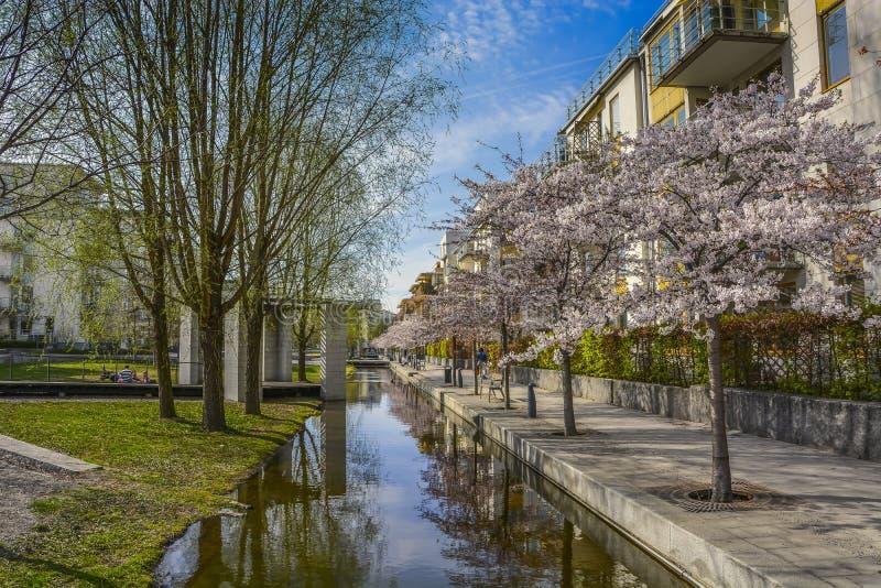 Κατοικημένη περιοχή Hammarby, Στοκχόλμη γειτονιάς στοκ φωτογραφία
